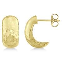 Hammered Hoop Drop Earrings in 14k Yellow Gold - RE1013