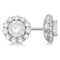 Round Diamond Stud Earrings Halo Setting In 18K White Gold ...