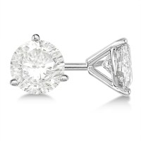 Round Diamond Stud Earrings 3-Prong Martini Setting 18K ...