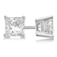 Square Diamond Stud Earrings Basket Setting In Platinum - DY7
