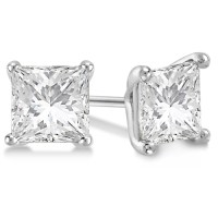 Square Diamond Stud Earrings Martini Setting In Palladium