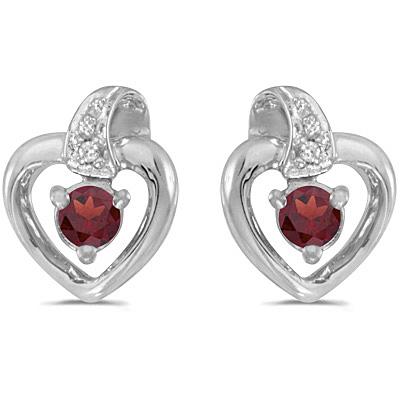 Garnet and Diamond Heart Earrings 14k White Gold (0.28ctw
