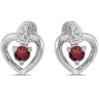 Garnet and Diamond Heart Earrings 14k White Gold (0.28ctw