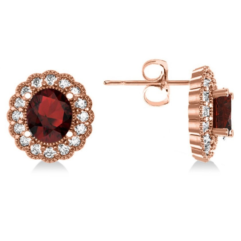 Garnet & Diamond Floral Oval Earrings 14k Rose Gold (5