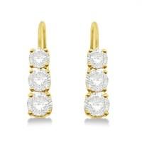 Three-Stone Leverback Diamond Earrings 14k Yellow Gold 1 ...
