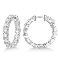 Prong-Set Small Diamond Hoop Earrings 14k White Gold (3 ...