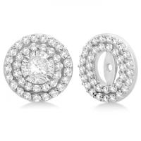 Round Halo Diamond Earring Jackets 9mm Studs 14k White ...