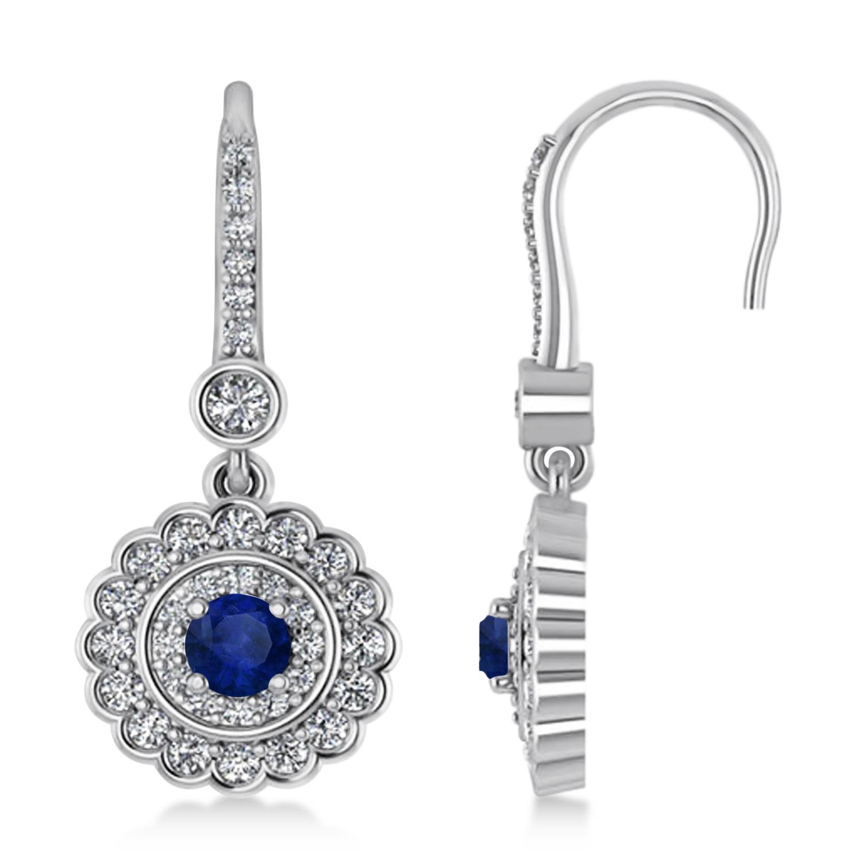 Diamond & Blue Sapphire Halo Drop Earrings 14K White Gold
