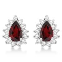 Garnet & Diamond Teardrop Earrings 14k White Gold (1.10ctw ...