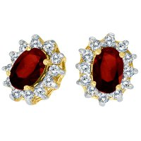 Oval Garnet and Diamond Earrings 14K Yellow Gold (1.25tcw