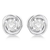 Diamond Love Knot Stud Earrings 14k White Gold (0.50ct ...
