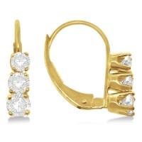 Three-Stone Leverback Diamond Earrings 14k Yellow Gold 0 ...