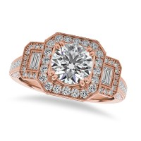 Diamond Vintage Square Halo Engagement Ring 14k Rose Gold ...