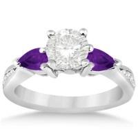 Diamond & Pear Amethyst Engagement Ring Platinum (0.79ct ...