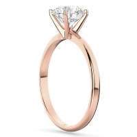 Four-Prong 18k Rose Gold Solitaire Engagement Ring Setting ...