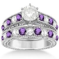 Antique Diamond & Amethyst Wedding & Engagement Ring Set ...