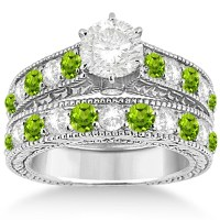 Antique Diamond & Peridot Bridal Wedding Ring Set 14k ...