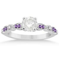 Marquise & Dot Diamond Amethyst Engagement Ring 14k White ...