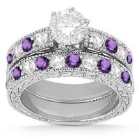 Antique Diamond & Amethyst Bridal Set Platinum (1.80ct ...