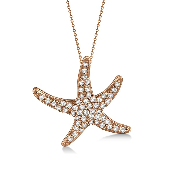 Diamond Starfish Pendant Necklace 14k Rose Gold 055ct