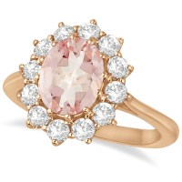 Oval Morganite and Diamond Ring 14k Rose Gold (3.60ctw ...