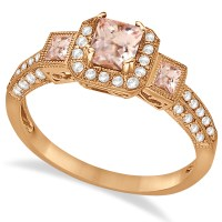 Morganite & Diamond Engagement Ring in 14k Rose Gold 1 ...