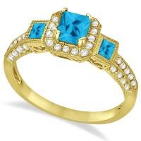 Blue Topaz & Diamond Engagement Ring 14k Yellow Gold 1 ...