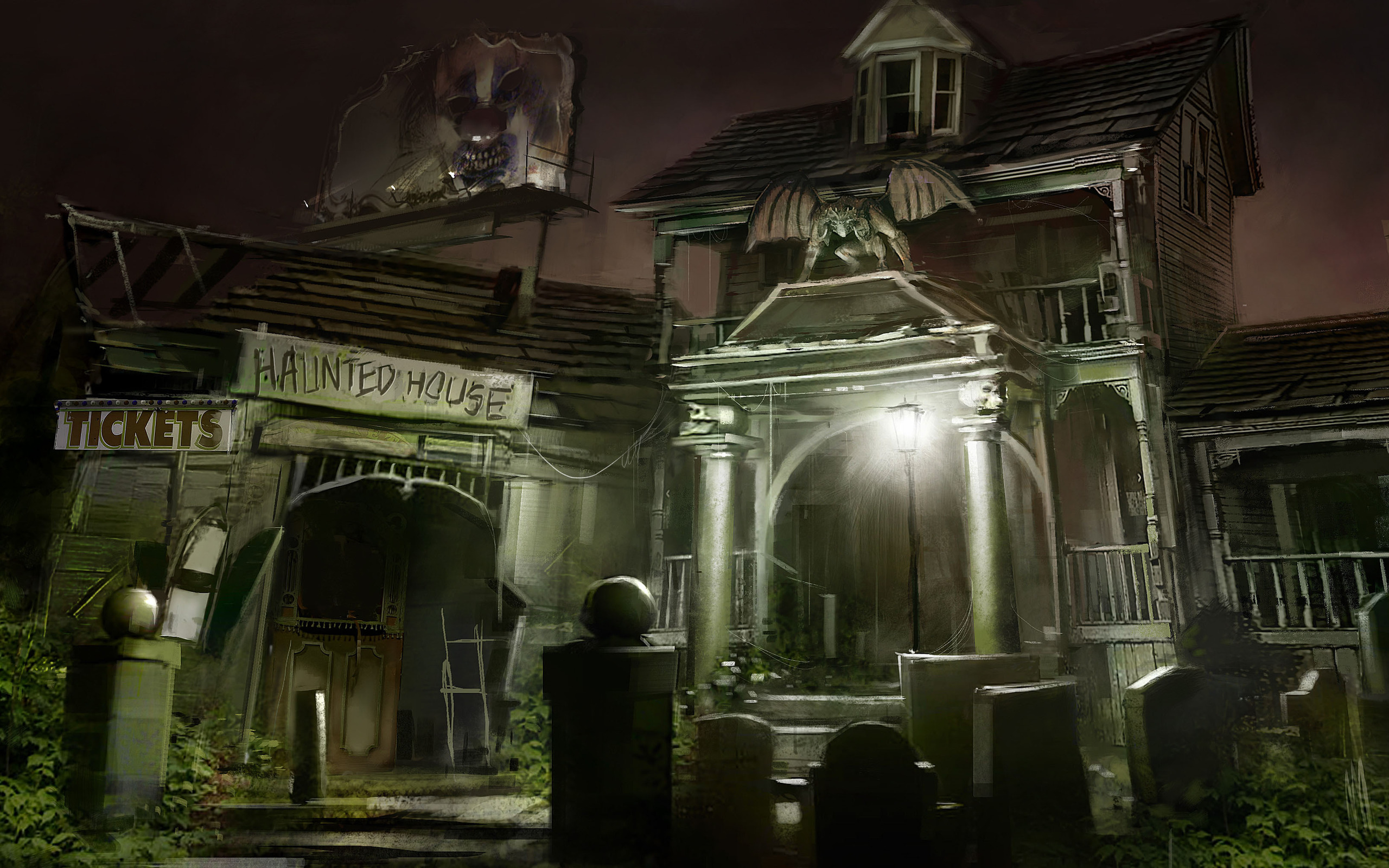 Haunted Mansion Iphone Wallpaper Building Hd Wallpaper Background Image 2560x1600 Id