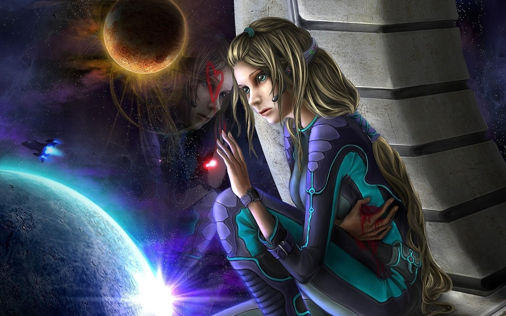 Girl Playing Games In Space 1600x900 Wallpaper Spacegirl Wallpaper And Background Image 1680x1050 Id