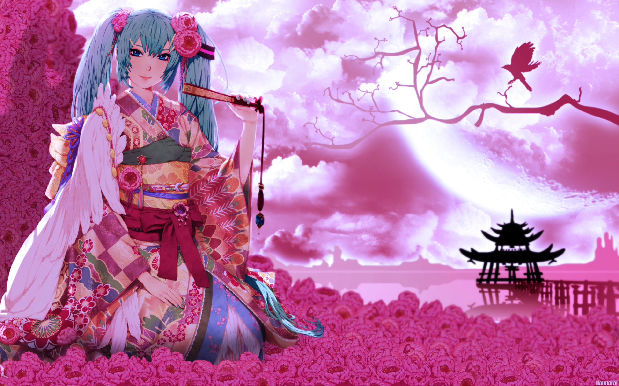Anime Girl Wallpaper Hd Pink Hair Neko Hatsune Miku Geisha Girl Wallpaper And Background Image
