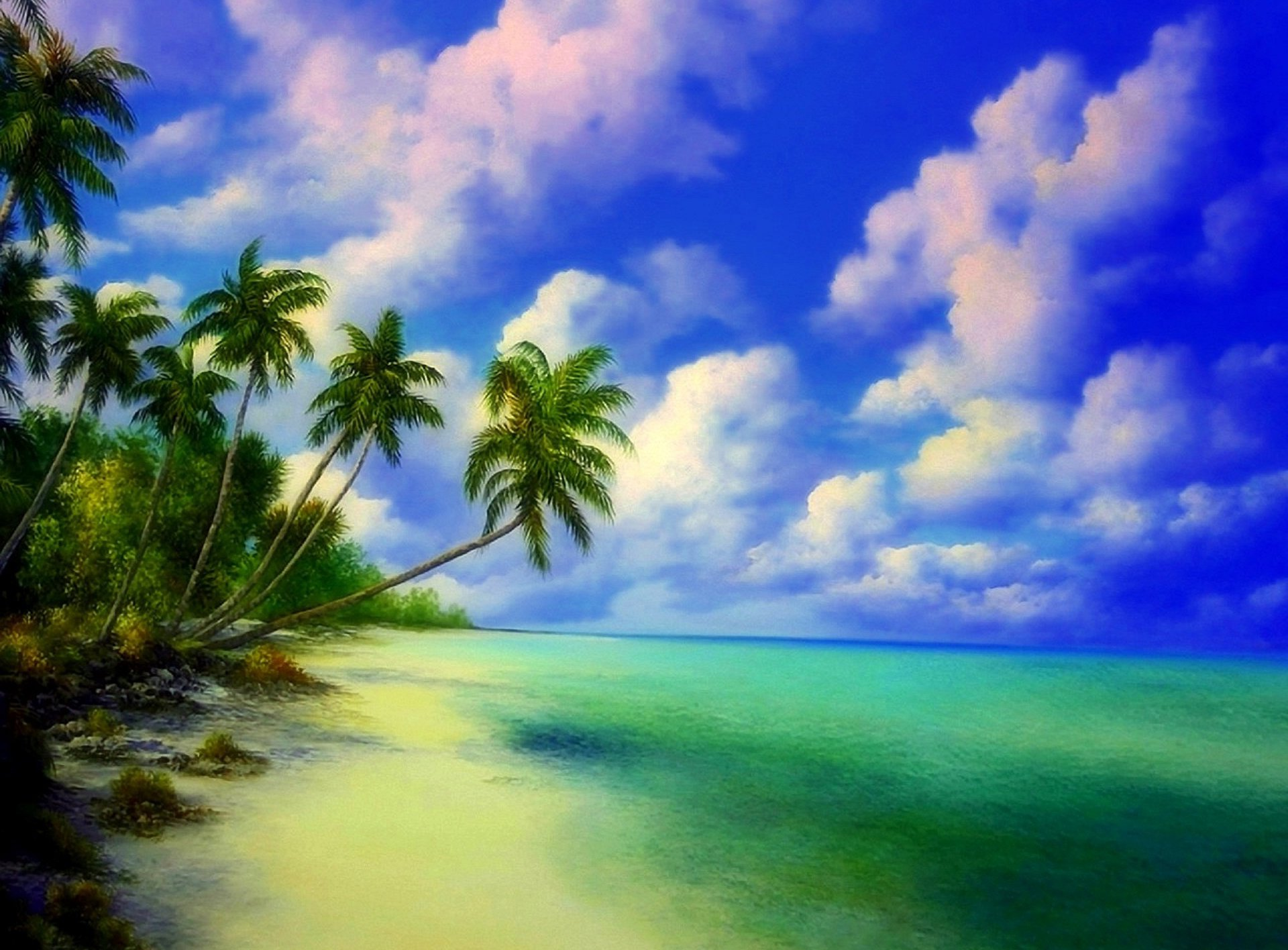 Palm Tree Iphone Wallpaper Painting Tropical Beach Hd Wallpaper Background Image