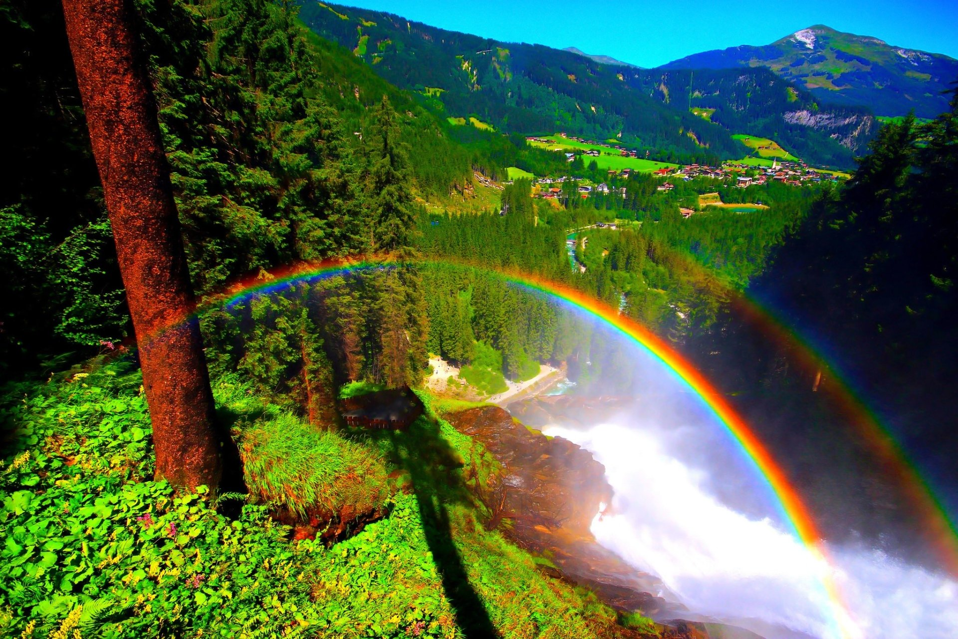 3d Wallpaper Widescreen Waterfalls Rainbow And View Of Mountain Village Hd Wallpaper