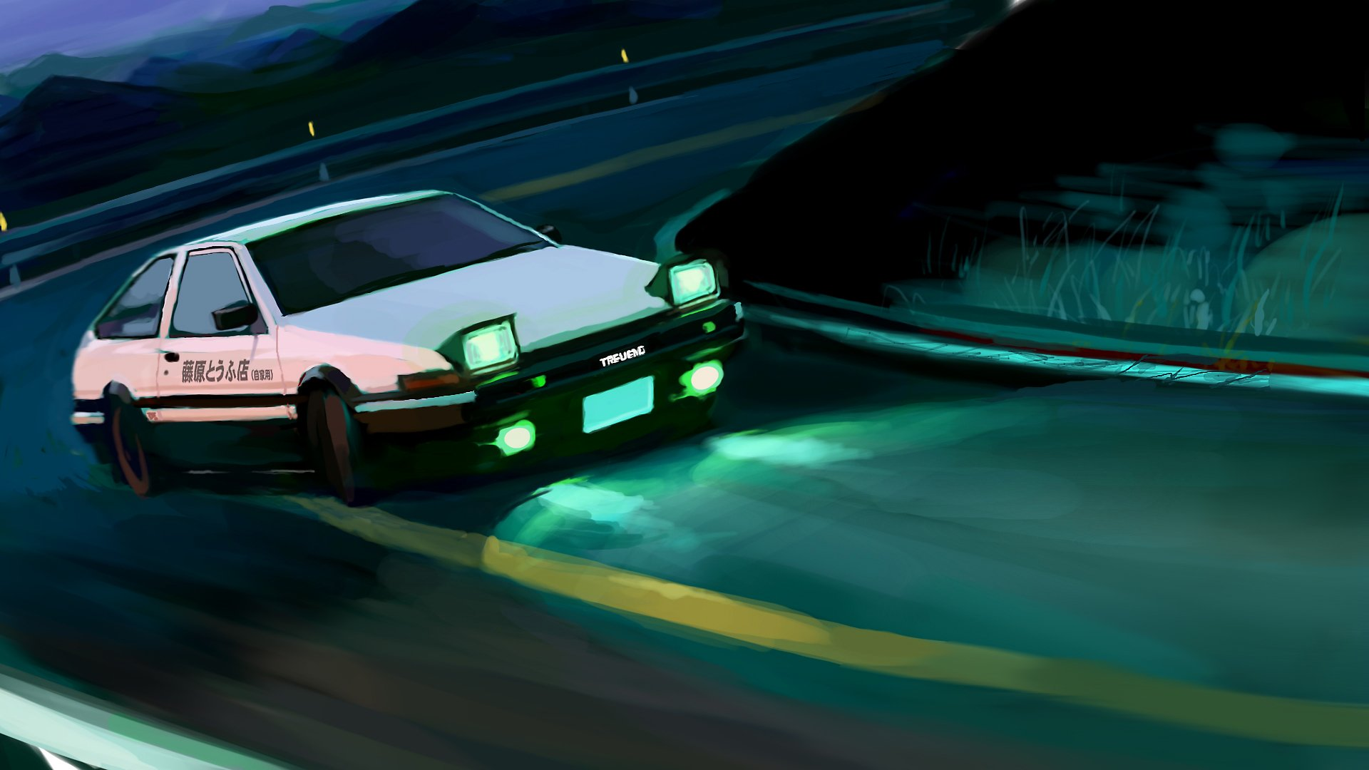 1920 Car Synthwave Wallpaper Initial D Final Stage Hd Wallpaper Background Image