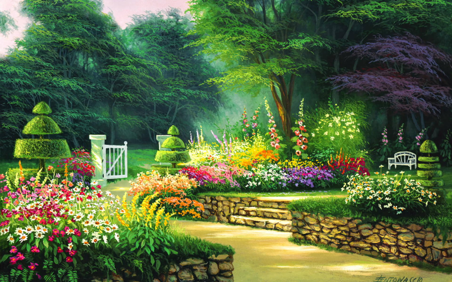 Cute Animated Wallpapers For Mobile Gif Spring Garden Hd Wallpaper Background Image 1920x1200