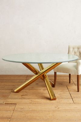 Glass Coffee Table With Gold Legs Crackled Glass Dining Table Anthropologie