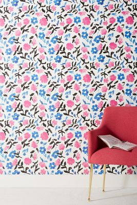 ANTHROPOLOGIE Wallpaper CYRILLE Flowers Blue Pink Black Prepasted Rolls USA NWT | eBay