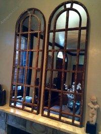 Antiques Atlas - Slim Arch Architectural Rustic Window Mirrors