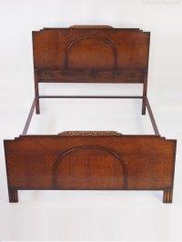Art Deco Oak Standard Double Bed - Antiques Atlas