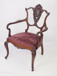 Carved Mahogany Armchair Or Dressing Table Chair ...