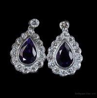 Antiques Atlas - Diamond Amethyst Earrings