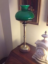 Antiques Atlas - Victorian Desk Lamp Brass And Opaline