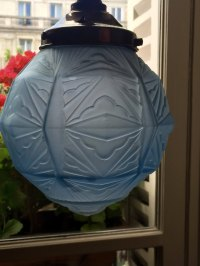 Antiques Atlas - Art Deco Ceiling Lamp Blue Frosted Glass