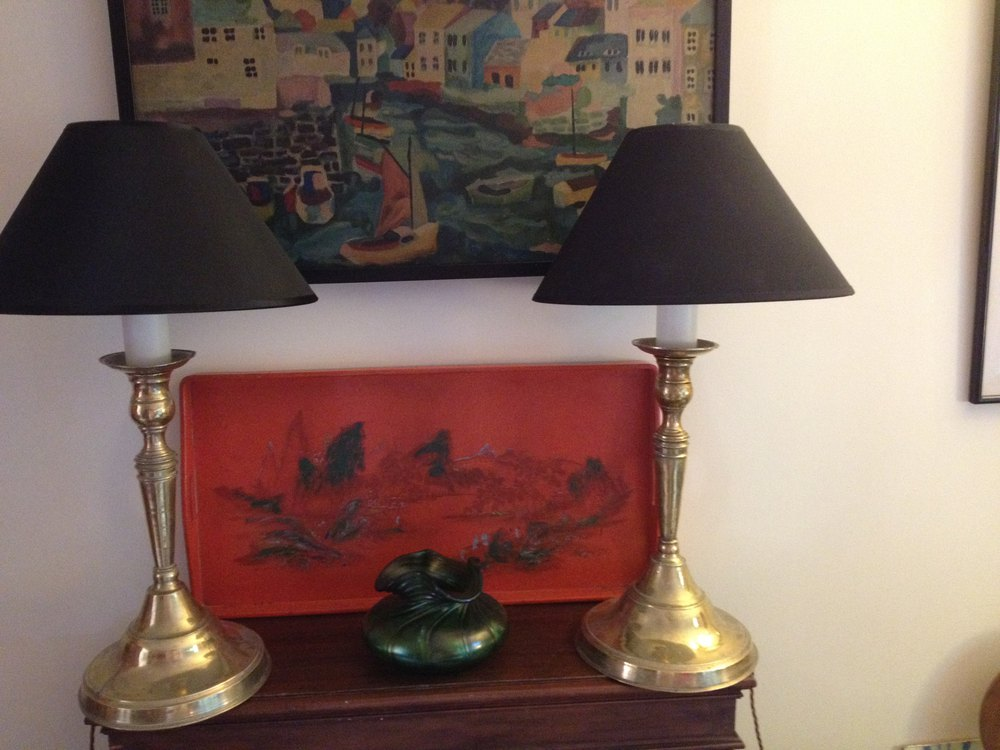 Antiques Atlas Pair Tall Antique Table Lamps In Brass