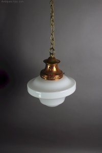 Antiques Atlas - Edwardian Pendant Light With Milk Shade