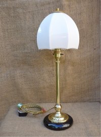 Antiques Atlas - Unusual Table Lamp In Brass With Ceramic Base
