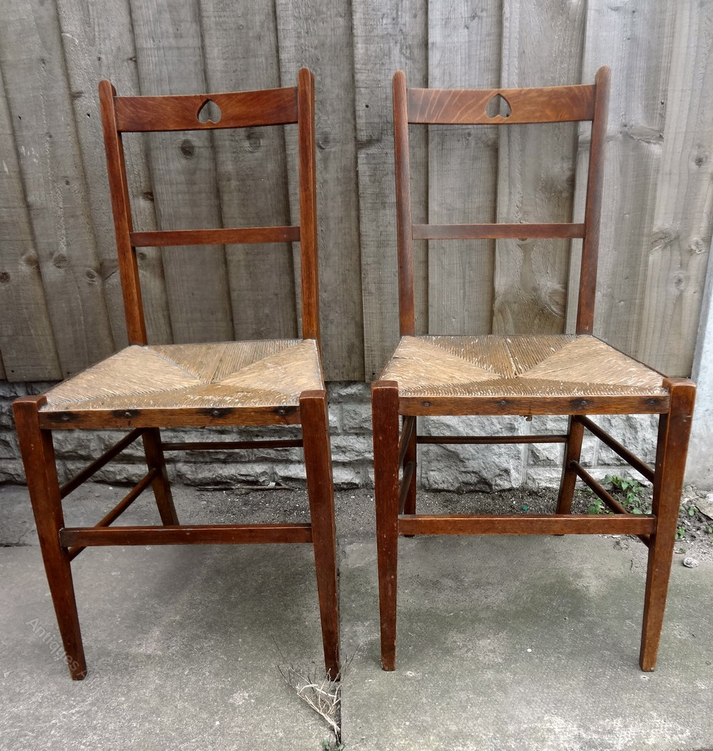 Antique Pair Rush Seat Oak Chairs Antiques Atlas