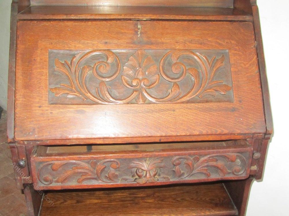 19thc Carved Oak Bureau Bookcase Antiques Atlas