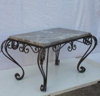 French Wrought Iron & Marble Coffee Table