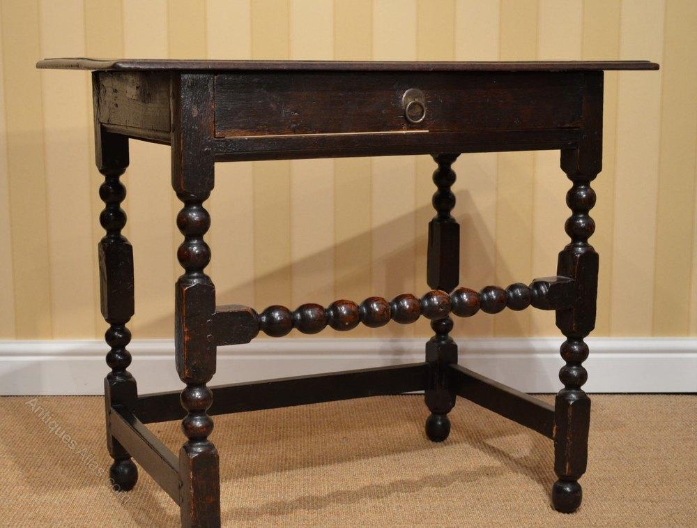 17th C Oak Side Table With Bobbin Turned Legs Antiques Atlas