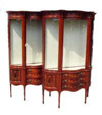 Antique Pair Inlaid Mahogany Display Cabinets - Antiques Atlas